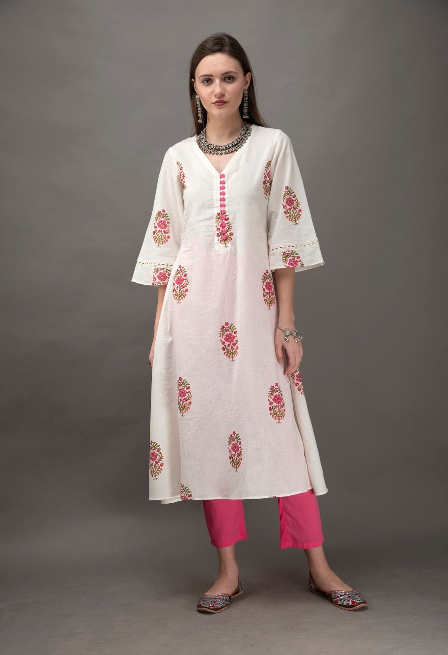White Hand Block Printed Cotton Kurta with Pink Pants- Set of 2