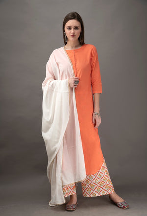 Peach Kurta with Off White Hand Block Printed Palazzo -Set of 2