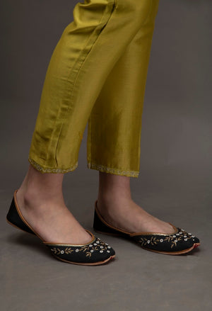 Lime Green Chanderi Embroidered Pants