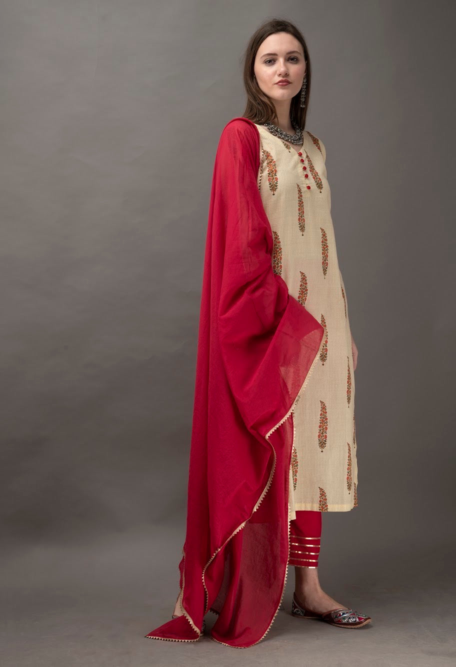 Cherry Red Cotton Dupatta with Gota