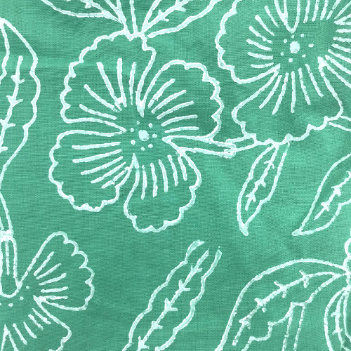 Hand block printed cotton fabric- Green