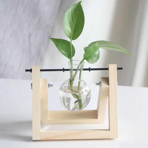 New Hydroponic Plant Vases - Vintage Flower Pot With Wooden Frame Glass And Transparent Vase - Great Christmas Gift Idea