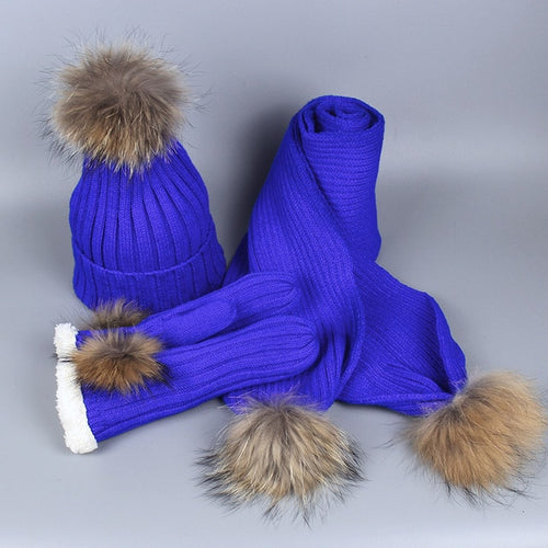 Real Fur Pom-pom Skullie - Beanie Hat Scarf And Gloves Three-piece Set For Women - Great Christmas Gift