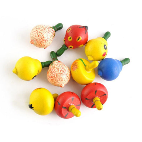 Wooden Colorful Fruit Style Gyro Spinning Kids Toy