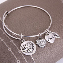 Load image into Gallery viewer, Lotus Love Charm Bangle (Silver or Gold)
