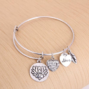 Lotus Love Charm Bangle (Silver or Gold)