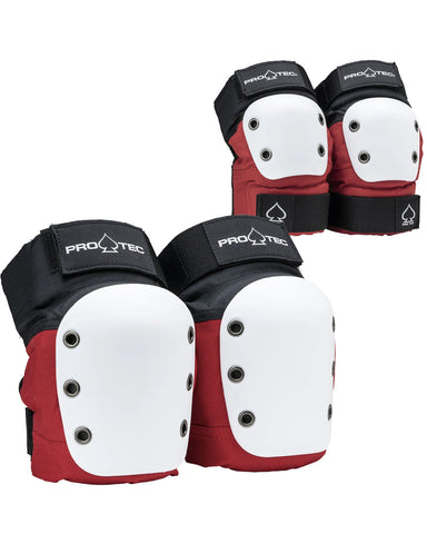 STREET KNEE/ELBOW PAD SET - OPEN BACK - RED/WHITE/BLACK