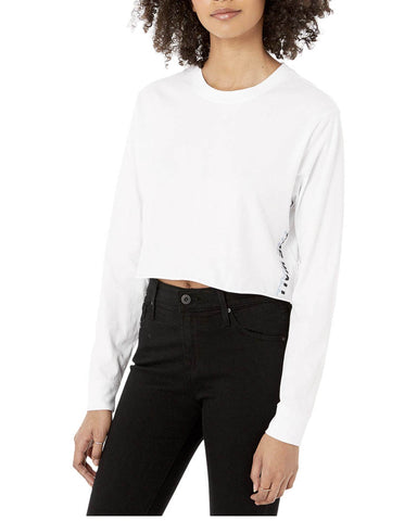 PEA VITOL CROP LONG SLEEVE WHITE T-SHIRT