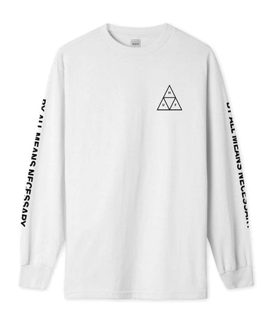 ESSENTIALS TRIPLE TRIANGLE LONG SLEEVE TEE WHITE
