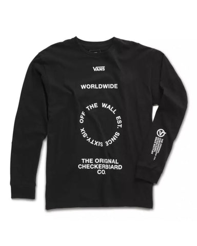 DISTORTION TYPE LONGSLEEVE BLACK T-SHIRT