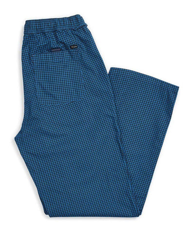 STEADY ELASTIC WAISTBAND PANT - ROYAL BLUE GINGHAM