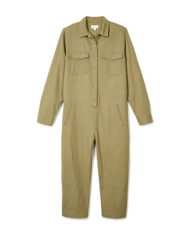 MELBOURNE CROP OVERALL - WASHED OLIVE