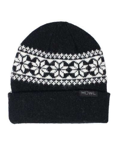SNOW FLAKE BEANIE BLACK