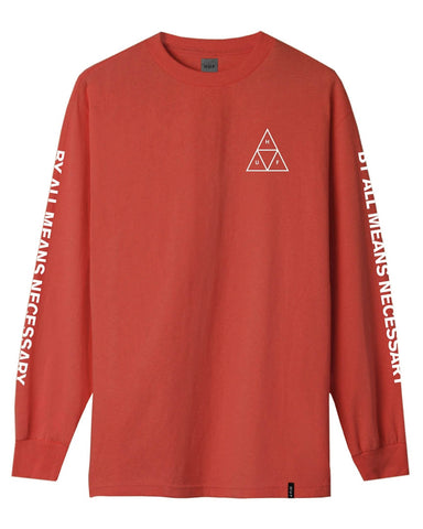 ESSENTIALS TRIPLE TRIANGLE LONG SLEEVE TEE RED