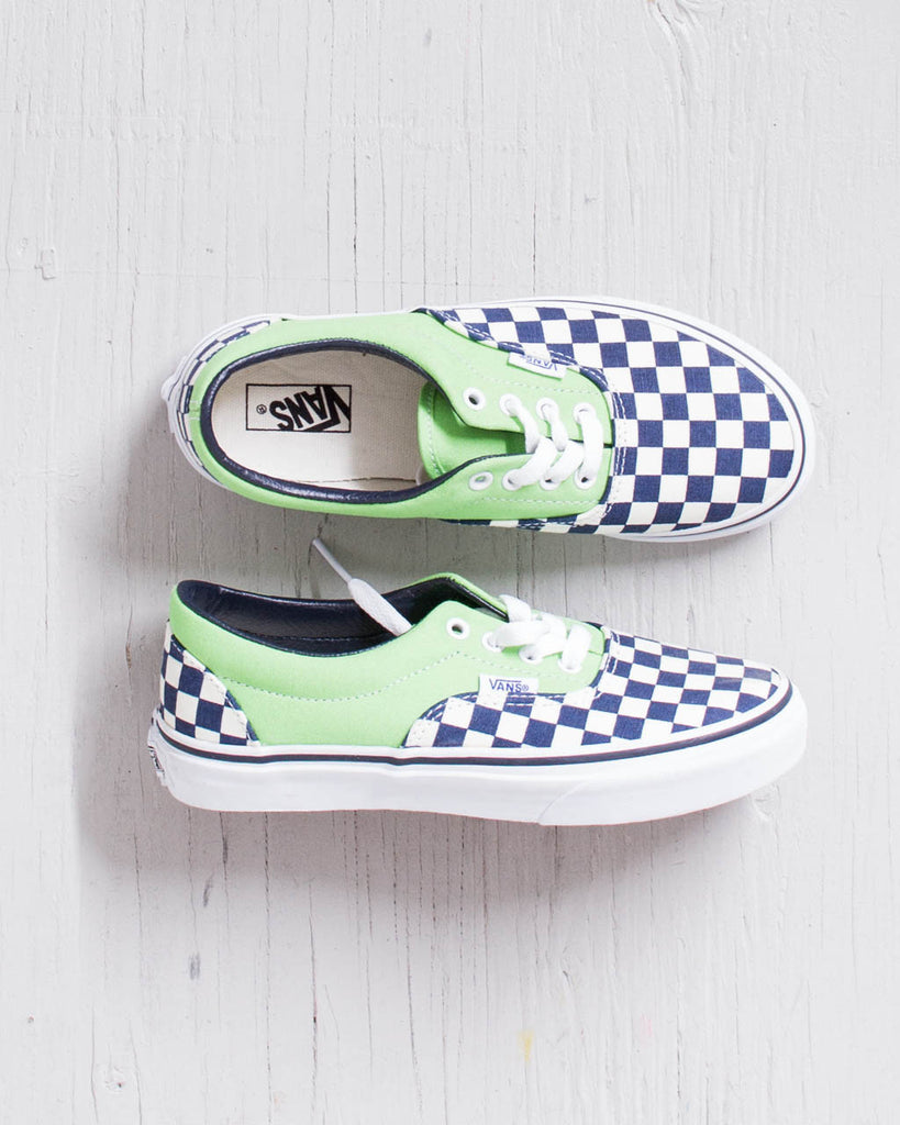 VANS Y ERA Shoes GREEN BLUE CHECKERBOARD