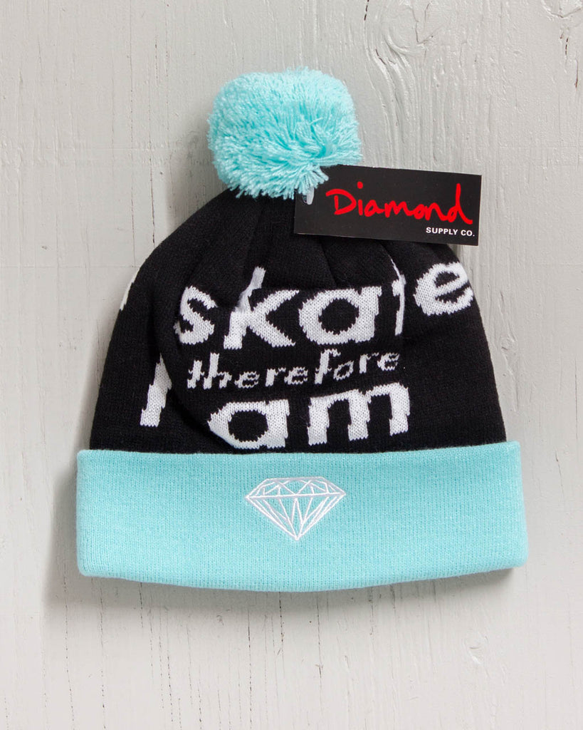 DIAMOND I AM FOLD POM BLUE Beanie