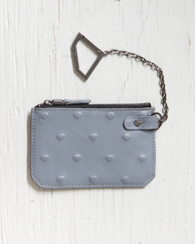 DIAMOND -CHAIN POUCH XL EMBOSSED GREY