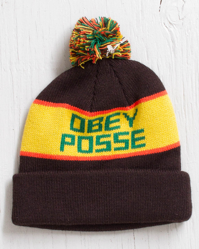 Tuque OBEY SONIC POM POM BROWN / YELLOW