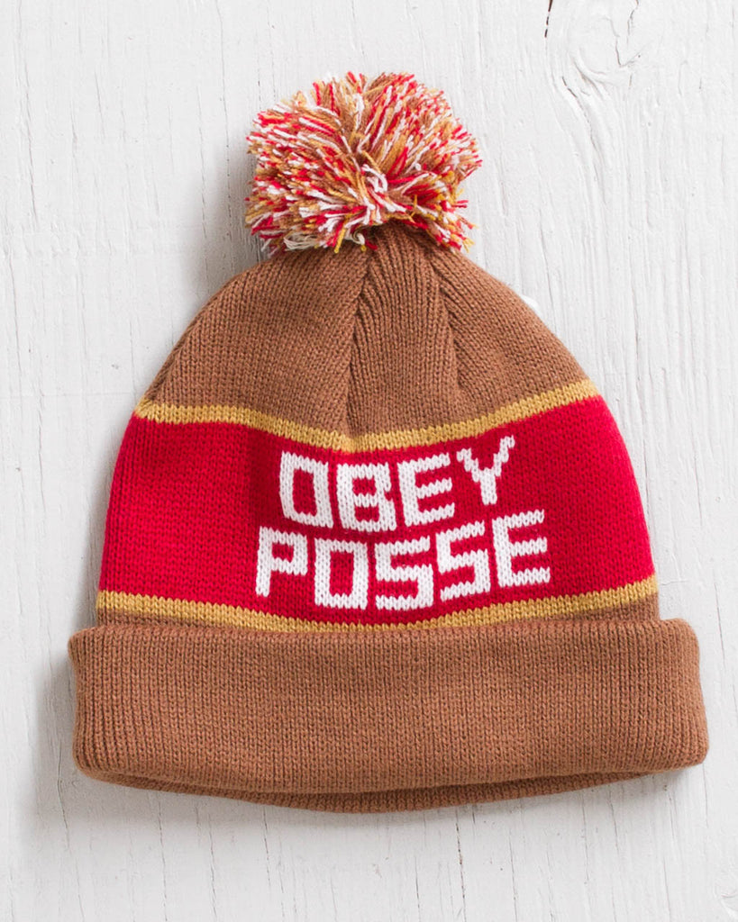 Tuque OBEY SONIC POM POM BRUN/ROUGE