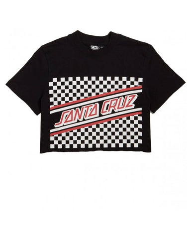 CHECKERBOARD CUT OFF CROP BOYFRIEND T-SHIRT - BLACK