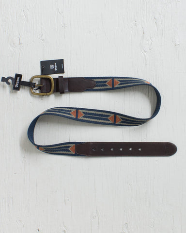 BRIXTON -COURSE BELT NAVY / RUST