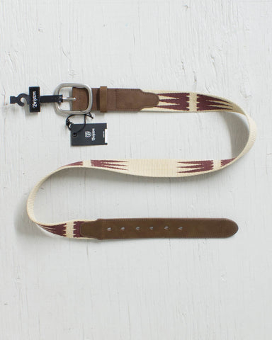 BRIXTON -COURSE BELT CREAM/BURGUNDY