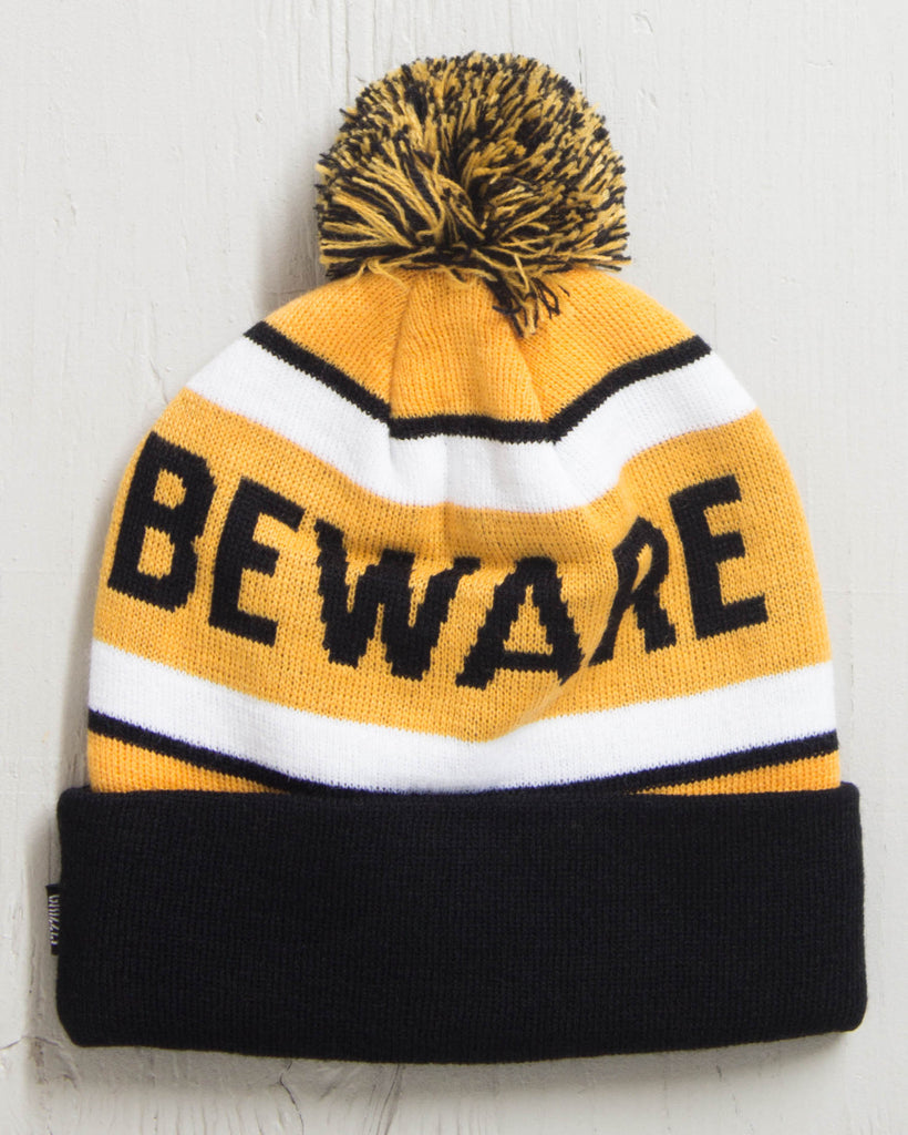 Tuque GRIZZLY BEWARE POM WHITE