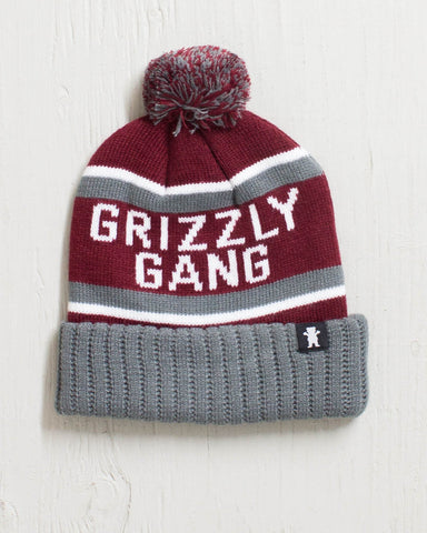 GRIZZLY -BEANIE FANATIC POM BURGUNDY