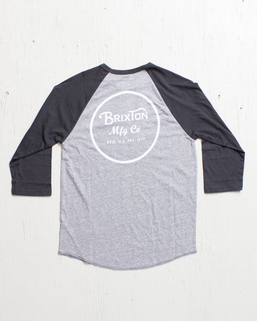 BRIXTON -WHEELER 3/4 SLV TEE HTR GREY/BLACK  - 2