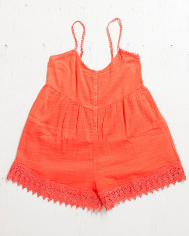 VOLCOM -PINNED ROMPER FIRE RED  - 1