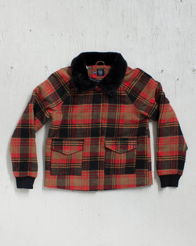 VOLCOM -CHICKITY CHECK JACKET BEAR BROWN  - 1