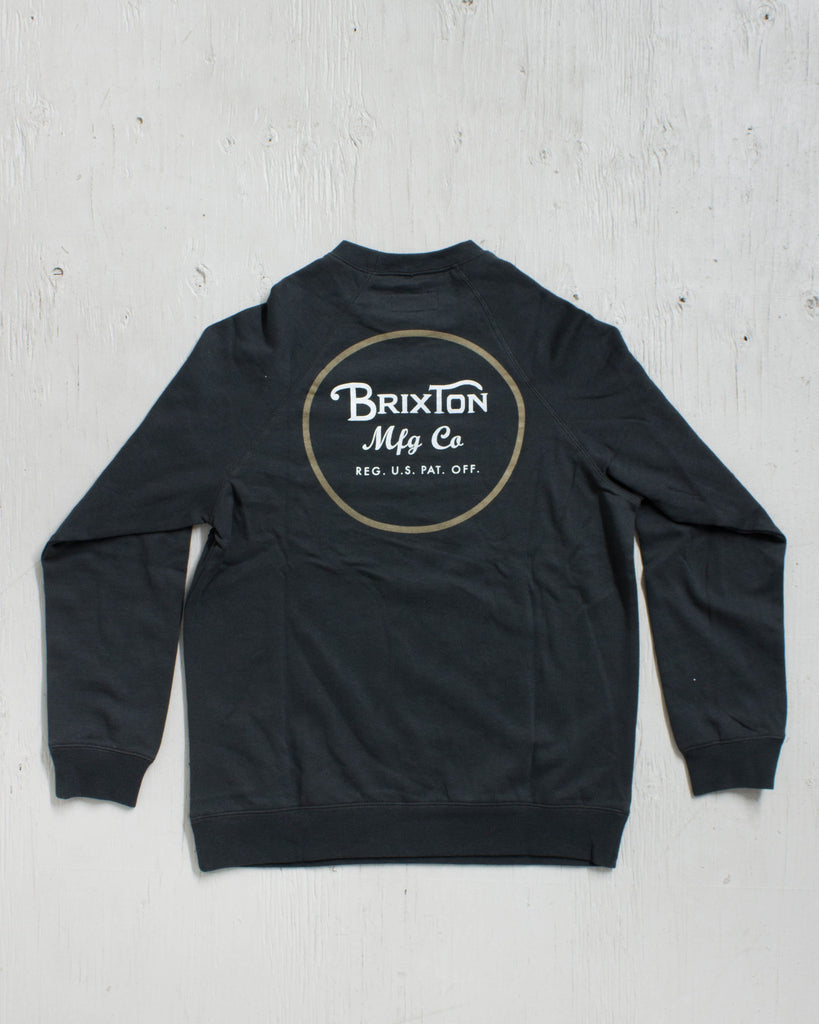 BRIXTON -WHEELER CREW WASHED BLACK  - 2