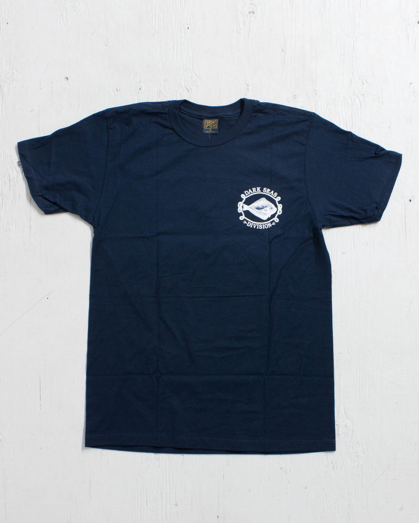 DARK SEAS -FLAT FISH FITTED TEE NAVY  - 2