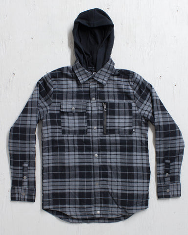 ARMADA -READING FLANNEL HOODY BLACK  - 1