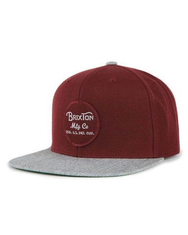 WHEELER SNAPBACK - BURGUNDY/BURGUNDY/HEATHER GREY