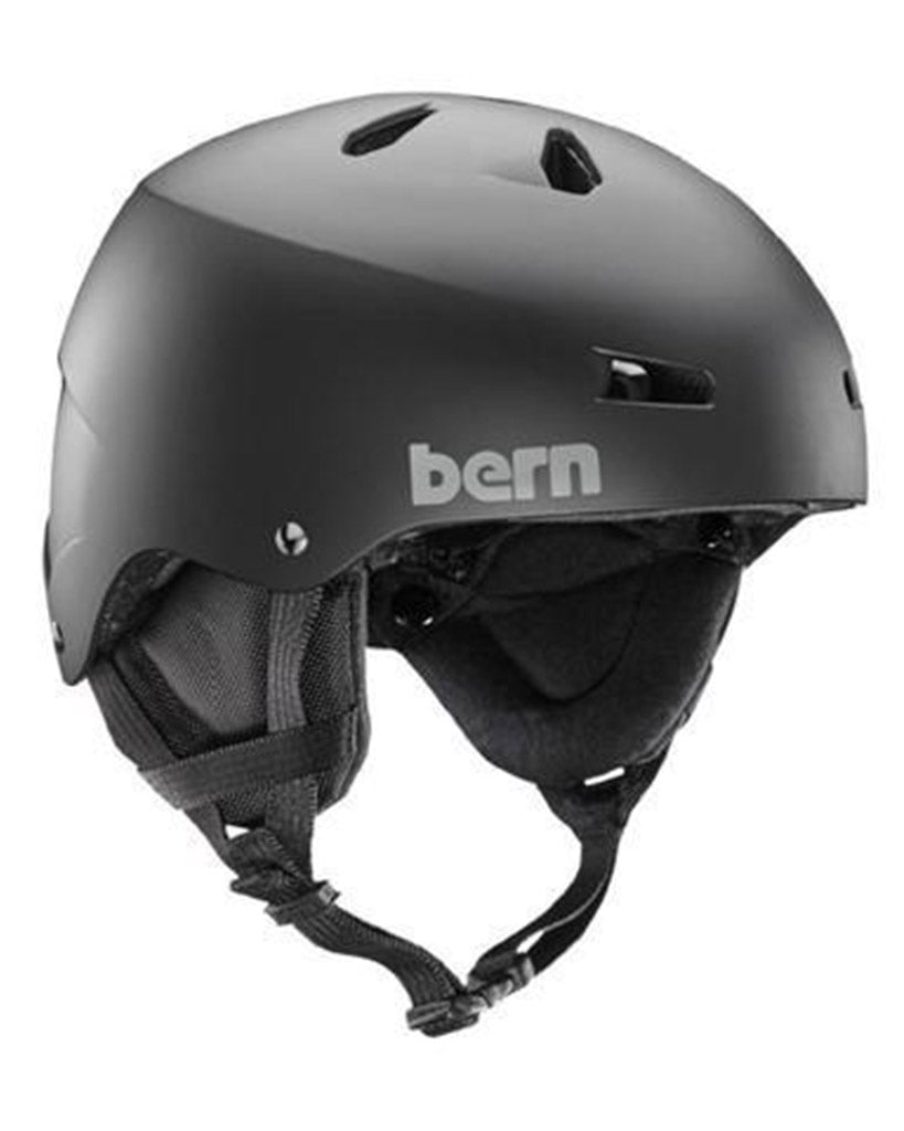 BERN TEAM MACON MATTE BLACK W / EARFLAPS Winter Helmet