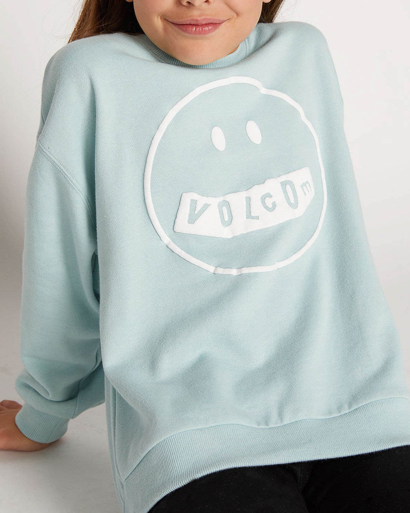 Hoodie VOLCOM BIG GIRLS DARTING TRAFFIC CREW SWEATSHIRT - MINT