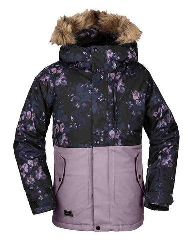 BIG GIRLS SO MINTY INSULATED JACKET - BLACK FLORAL PRINT