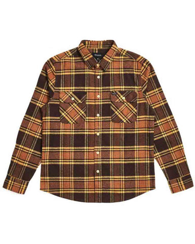 BOWERY LS FLANNEL - BROWN/GOLD