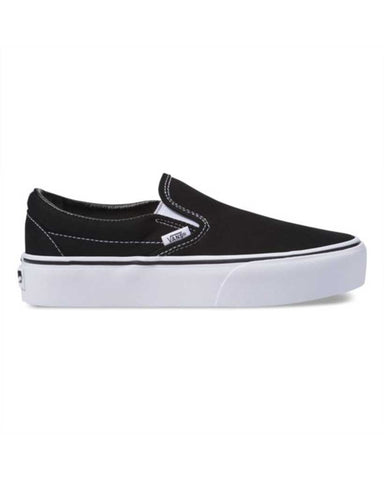 VANS WOMENS CLASSIC SLIP-ON PLATFORM BLACK SHOES
