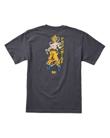 X DRAGON BALL Z SUPER SAIYAN GOKU TEE CHARCOAL