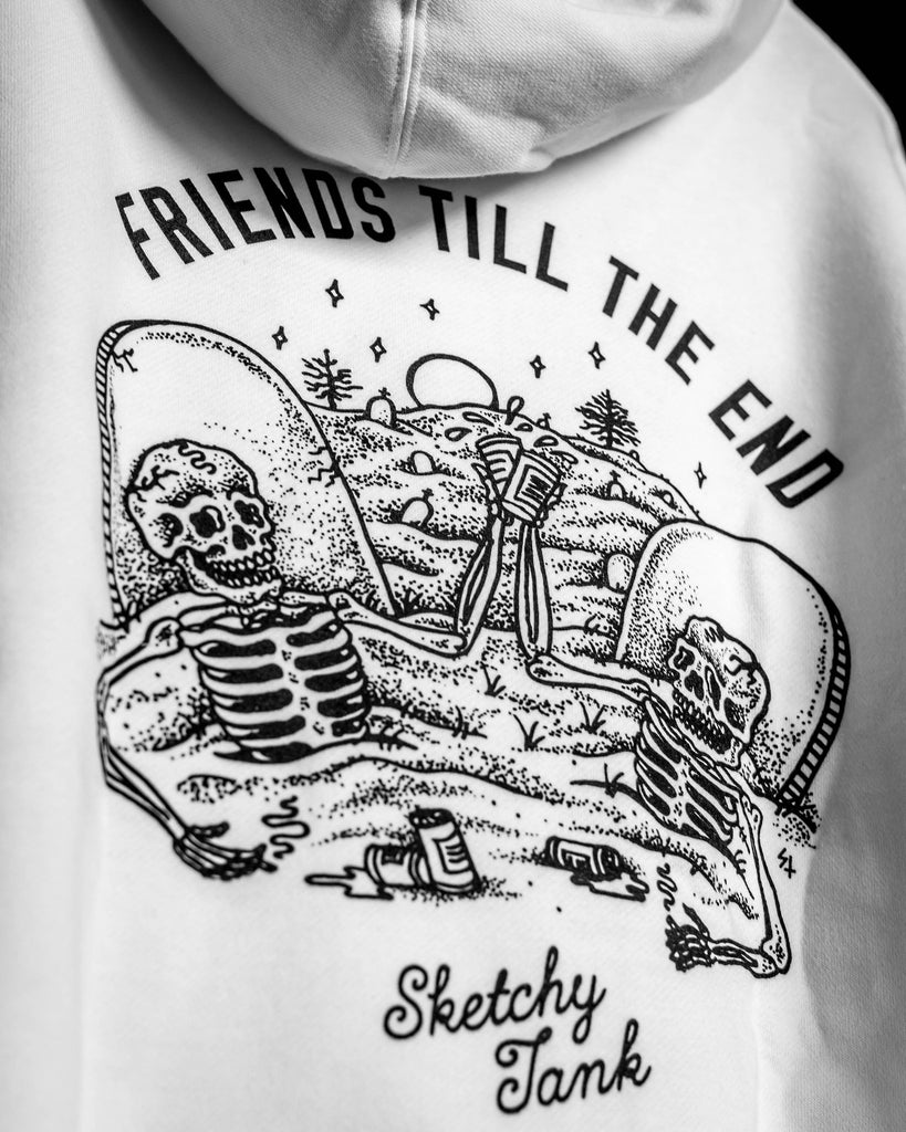 SKETCHY TANK -THE END HOODY BLANC  - 3