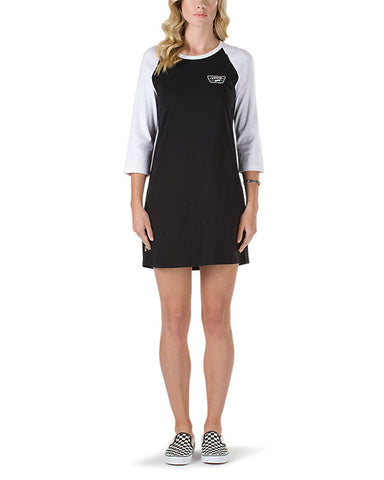 FULL PATCH RAGLAN DRESS BLACK
