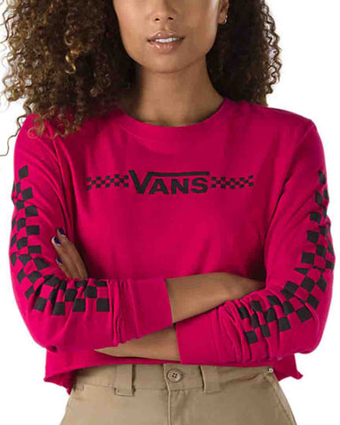 FUNNIER LONG SLEEVE TIMES CROP TEE CHERRY