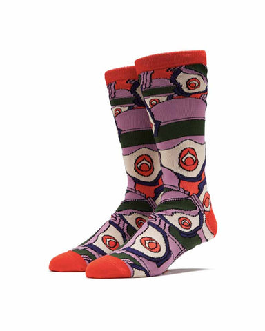 GWEN ALLOVER CREW SOCKS RED