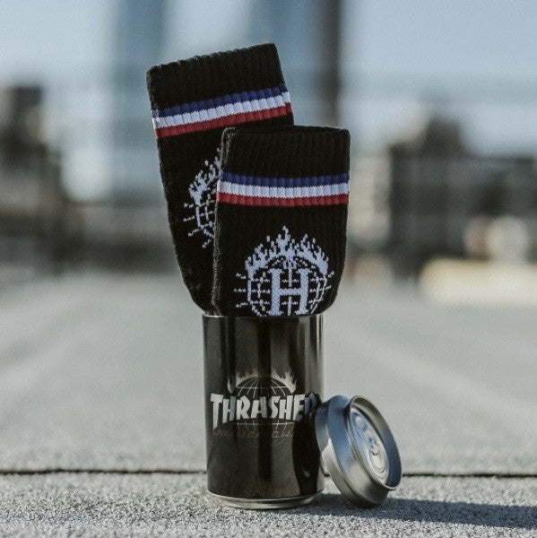 THRASHER -TDS SOCK & BLACK IN A CAN BLACK  - 2