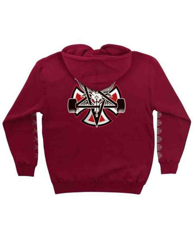 INDY THRASHER PENTAGRAM CROSS HOOD GARNET