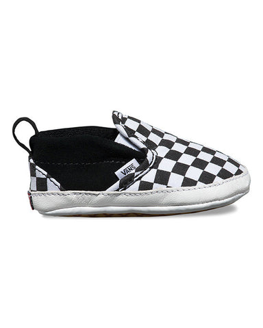 INFANT SLIP-ON V CRIB CHECKER BLACK