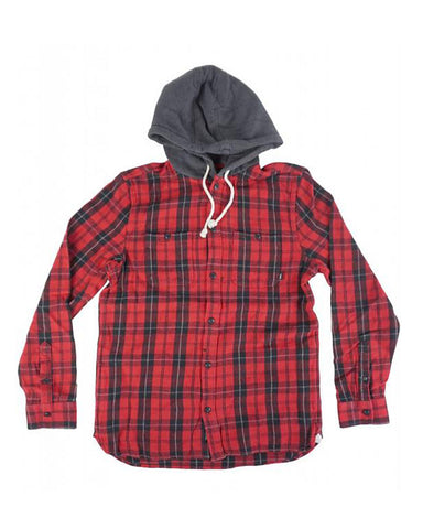 LOPES BUTTONDOWN FLANNEL HOODIE CHILI PEPPER-BLACK