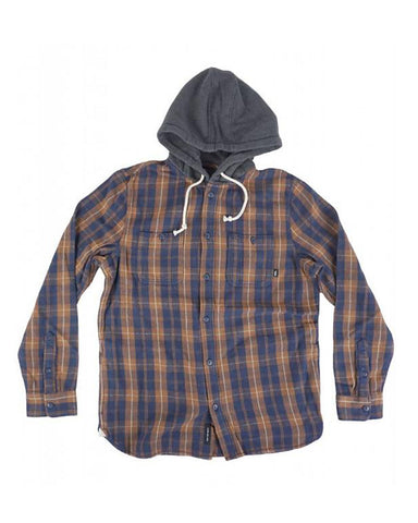 LOPES BUTTONDOWN FLANNEL HOODIE DRESS BLUES-TOFFEE
